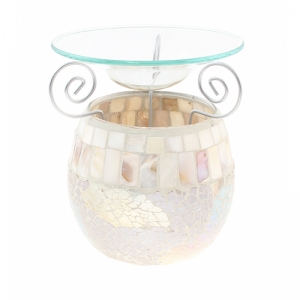 7.306 Duftlampe, Mosaik Glas weiss