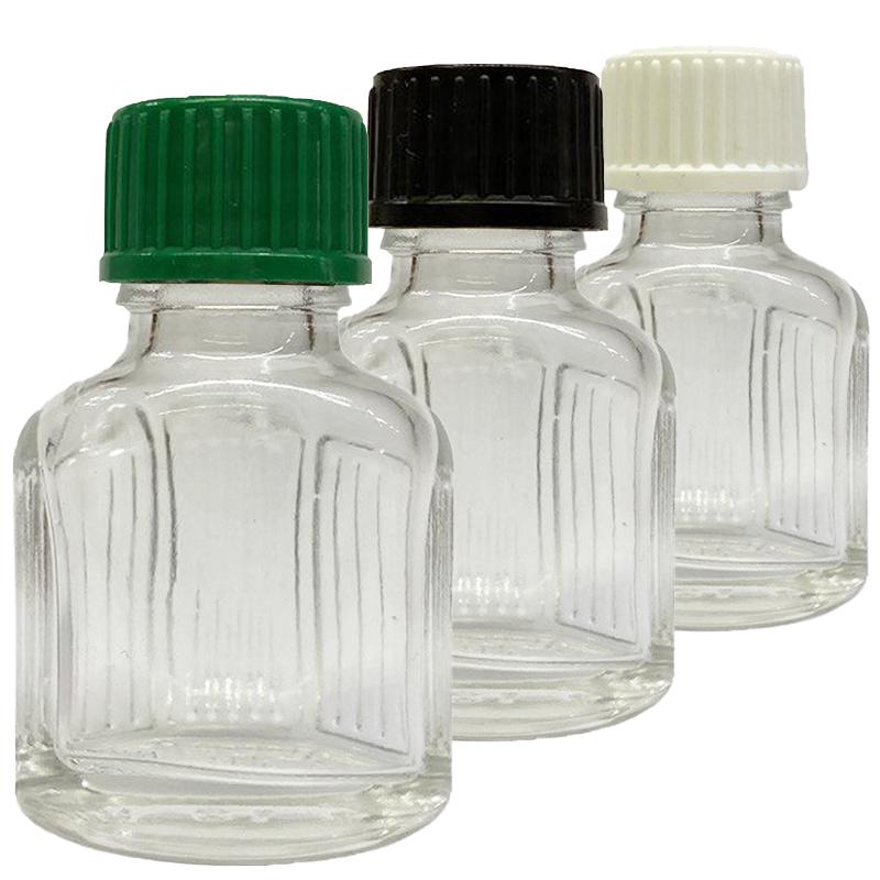 11 ml Weissglas (leere Flasche mit Deckel in 3 versch. Farben)