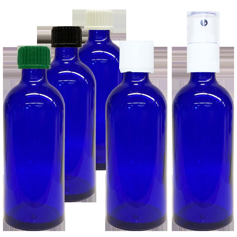 100 ml Blauglas (leere Flasche mit Verschluss)