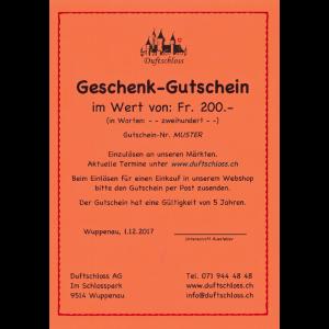 Geschenk-Gutschein Fr. 200.-