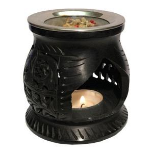 R4, Räucherlampe Speckstein, schwarz