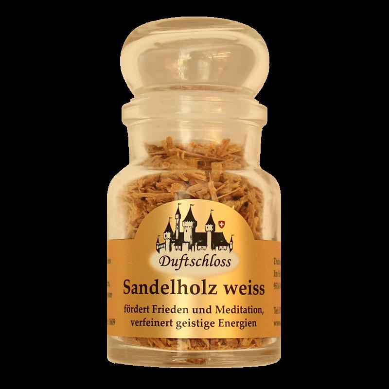Sandelholz (weiss) Späne - Räucherwerk, im 60 ml Glas