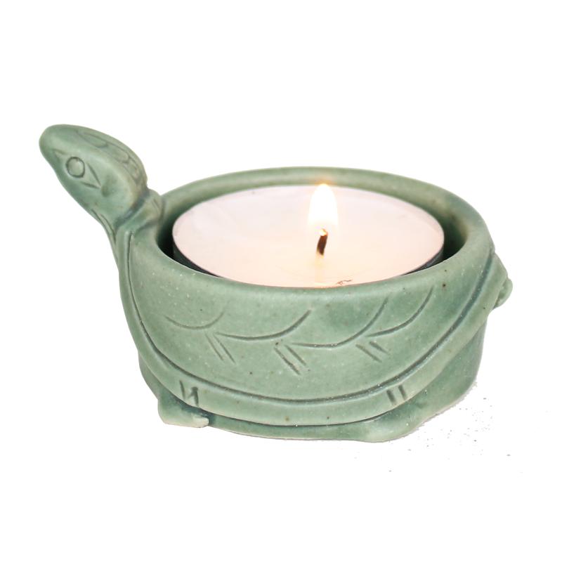 Schildkröte als Teelichthalter in grün, 13.404