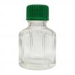 11 ml Weissglas (leere Flasche mit Deckel in 3 versch. Farben) 11 ml Weissglas (leere Flasche mit grünem Deckel), mit Tropfeinsatz