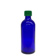 100 ml Blauglas (leere Flasche mit Verschluss) Blauglas 100 ml, Deckel mit Tropfeinsatz grün