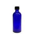 100 ml Blauglas (leere Flasche mit Verschluss) Blauglas 100 ml, Deckel mit Tropfeinsatz schwarz