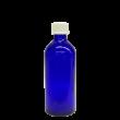 100 ml Blauglas (leere Flasche mit Verschluss) Blauglas 100 ml, Deckel mit Tropfeinsatz weiss