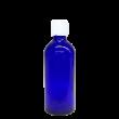 100 ml Blauglas (leere Flasche mit Verschluss) Blauglas 100 ml, Deckel Originalitätsverschluss weiss