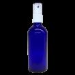100 ml Blauglas (leere Flasche mit Verschluss) Blauglas 100 ml, Sprühaufsatz weiss